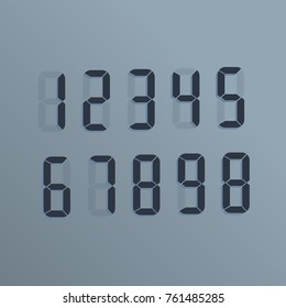 Realistic electronic numbers. The dial on the screen