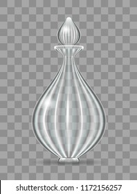 Realistic and elegant glass bottle for perfume