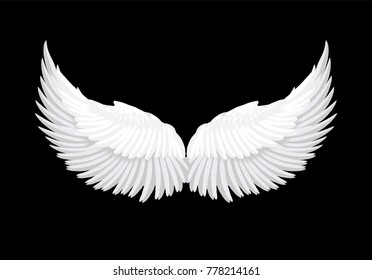 Realistic elegant white angel wings on black background. Love, lightness, romantic, innocence and freedom symbol. Vector illustration. Photo booth props, stickers element.