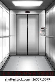 Realistic elevator cabin with closed doors inside view. Empty lift interior with chrome metal buttons and digital panel, office, hotel or dwelling indoors speedy transportation 3d vector illustration