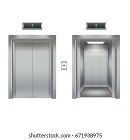 Realistic Elevator with Closed and Opened Metal Door Interior Transportation Equipment Element of Building. Vector illustration