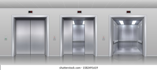 Realistic elevators. Closed open and half closed metallic cabin doors of passenger and cargo lift or indicator. Vector interior with metal doors, steel open and closing lifts in corridor