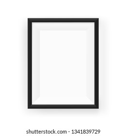 Realistic empty black picture frame on a wall. Vector illustration Isolated on white background