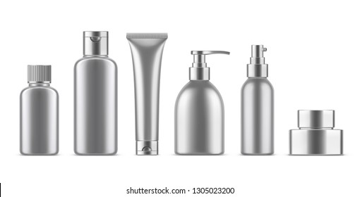 Realistic empty cosmetic bottles set. Collection of blank template metallic plastic package with silver cap. Bottle for liquid soap, shampoo, cream, tube, lotion. 3d Vector mockup isolated on white