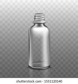 Realistic empty glass bottle for cosmetic product without roll up lid - moisturising face serum or oil container isolated on transparent background. Vector illustration.