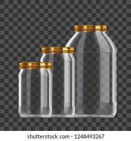 Realistic Empty Glass Jar Set Isolated On White Background. EPS10 Vector