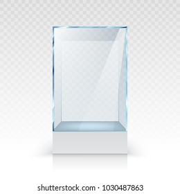 Realistic empty glass showcase for exhibition on transparent background isolated vector illustration
