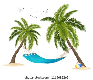 Realistic empty hammock between palm trees and flock of birds in sky on white background vector illustration