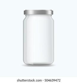 Realistic empty jar vector mockup