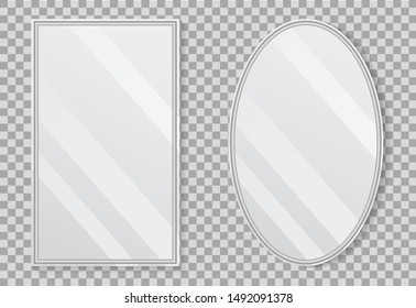 Realistic empty mirrors with reflect in mockup style. Oval mirror with empty surface on isolated background. Set of mirror decor. vector illustration