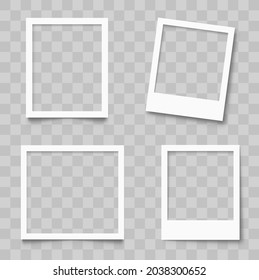 Realistic empty photo frame mackup set. Old photo frame collection. Blank retro photo frames with shadows - stock vector - Shutterstock ID 2038300652