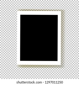 Realistic empty photo frame with transparent shadow.Photo border to family album. Background  for your design and business. Vector illustration