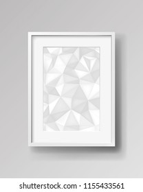 Realistic empty rectangular white frame with passepartout on gray background, print with a low polygonal abstraction, mock-up sample, picture on the wall, vector design object
