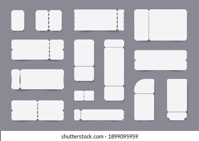 Realistic empty ticket templates coupon mockup set with isolated paper slips of various shape and size vector illustration