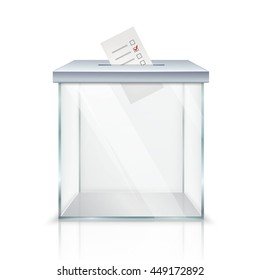 Realistic empty transparent ballot box with marked ballot in hole on white background isolated vector illustration