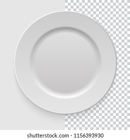 Realistic empty white dish plate with shadow on transparent background. Template design food presentation and your projects. Top view. Kitchen appliances utensils for eating. Vector illustration