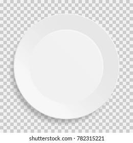 Realistic empty white dish plate with shadow on transparent background. Top view. Kitchen appliances utensils for eating. Template design for food presentation and your projects. Vector illustration