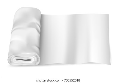 Realistic, empty, white fabric (textile, cloth, silk) roll. Mockup for your pattern. Vector illustration
