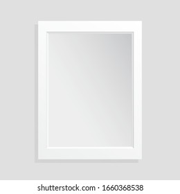 Realistic empty white frame on light background, border with shadow. Vector with mockup for project
