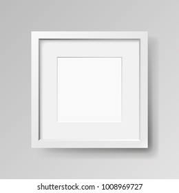 Realistic empty white frame with passepartout on gray background, border for your creative project, mock-up sample, vector design object