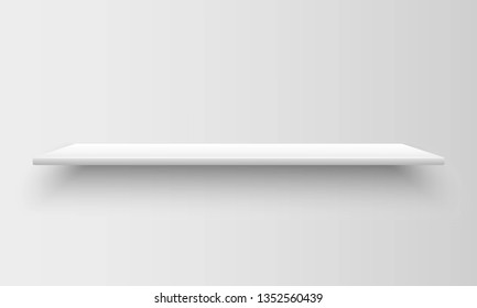 Realistic empty white shelve with shadow on grey background. Mock up template for your design. Interior concept for market store, library, school, office or home. Vector illustration