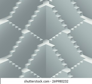 Realistic endless stairs construction vector seamless pattern