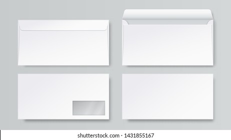 Realistic envelope. DL blank stationery mockup, open closed front and back letter view, corporate business template. Vector 3d business mail set