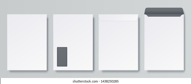 Realistic envelopes. Blank close and open letter, C4 A4 business mockup template, isolated front and back views. Vector white vertical envelope for corporate postcard