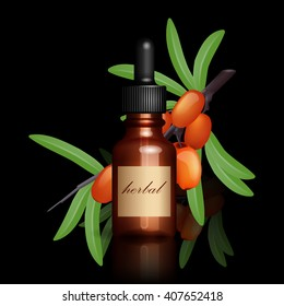Realistic essential oil bottle and seabuckthorn branch with ripe berries on black background