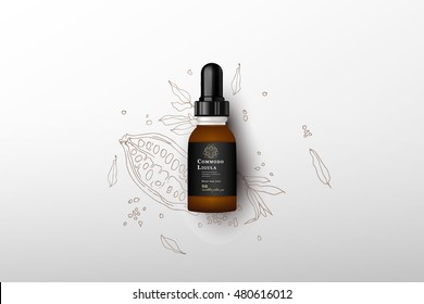Realistic essential oil brown bottle. Mock up bottle. Cosmetic vial, flask, flacon. Medical bank. Cosmetic dropper-bottle with cocoa fruit background . Prescription bottle with design label