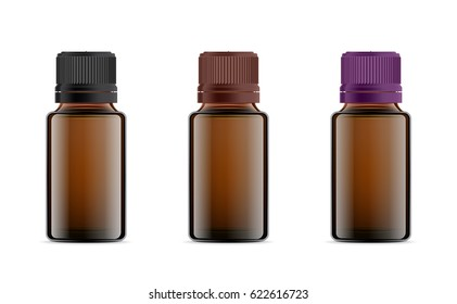 Realistic essential oil brown bottle. Mock up bottle. Cosmetic vial, flask, flacon. Medical bank. Cosmetic dropper-bottle with sticker.  Prescription bottle with design label.