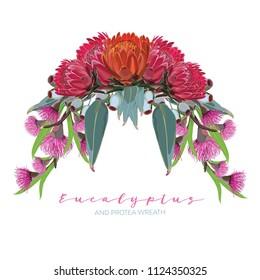 Realistic Eucalyptus and Protea Wreath