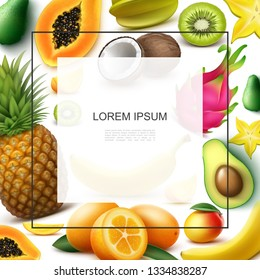 Realistic Exotic Fruits Template