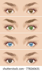 Realistic eyes of different colors. Color contact lenses