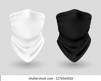 Realistic face bandana or biker scarfs isolated