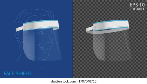 Realistic Face shield in isolated vector place on transparent background