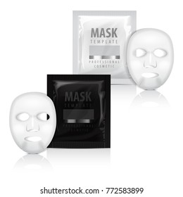 Realistic facial sheet mask and sachet. Vector mock up template. Beauty product packaging on white background for your design
