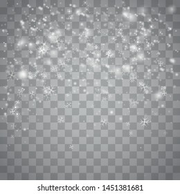 Realistic falling snowflakes. Isolated on transparent background. Illustration for Happy New Year