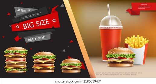 Realistic Fast Food Advertising Template