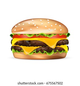 realistic fast food Hamburger Classic isolated on white background