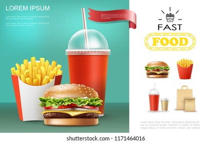 Realistic fast food template with soda and coffee cups french fries cheeseburger paper bag vector illustration