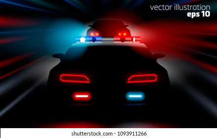 realistic fast police car chases the car