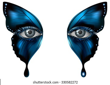 Realistic female eye close up artistic makeup - blue butterfly wings