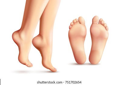 Realistic female feet set with legs standing on toes and soles isolated on white background vector illustration