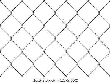 Realistic Fence Rabitz pattern. Seamless connection of protective grid.  Vector rabitz grid. Robust, modern chrome-plated wire.