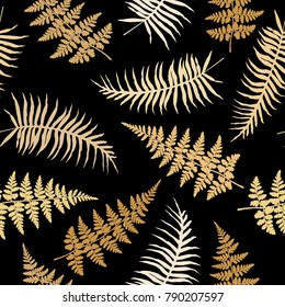 Realistic fern seamless pattern vector illustration. Polypodiophyta plant bush leaves and twigs background decor.  Detailed bracken fern vector, tropical forest grass herbs growing background.