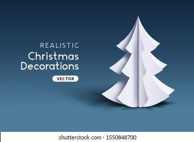 A Realistic festive vector paper 3D christmas tree object.