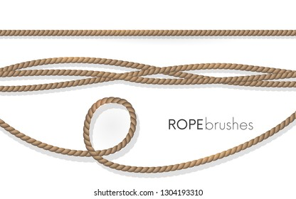 Realistic fiber ropes.Rope brushes .Jute twisted cords with loops isolated on white background. Decorative elements with brown packthread.