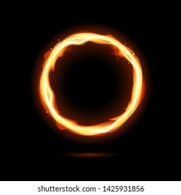 Realistic fiery circle. Round neon frame. Fire burning ring. Magic gold circle light. Vector template illustration