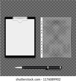 Realistic file, plastic bag and clipboard with pen on gray background. Vector illustration